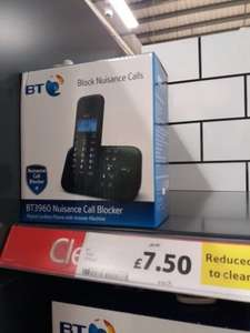 BT Nuisance Call Blocker single Pack. Digital cordless phone with answer machine £7.50 @ Tesco instore.