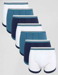 ASOS Trunks With Stripe Waistband & Contrast Binding 7 Pack 55% OFF £11.50 @ ASOS.com