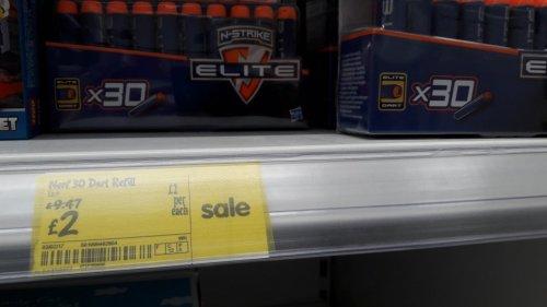 Nerf Elite x30 darts Asda, reduced to £2