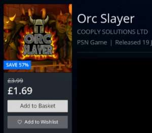 Orc Slayer PS4 (Easy Plat) £1.69 PSN UK