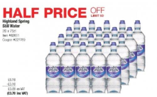 Highland spring still 20/75cl half price £3.70 @ Costco Warehouse