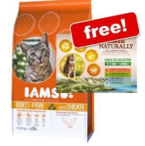 Large Bags Iams Dry Cat Food + 12 x 85g Iams Naturally Free! £26.99 @ Zooplus