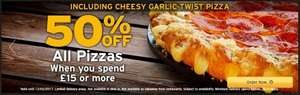 50% off ALL pizzas (Including new cheesy garlic twist) When you spend £15 plus 3 classic sides for £5 @ Pizza Hut (takeaway branches only)