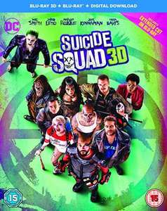 Suicide Squad (Blu-ray 3D + Blu-ray + Digital Copy) £12.99 (Prime) / £14.98 (non Prime) at Amazon - £12.99 @ HMV for non prime