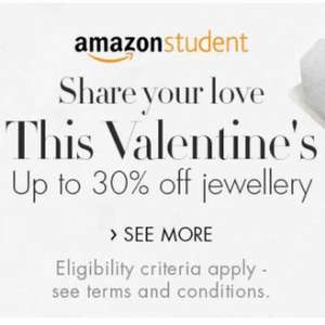 Up to 30% off jewellery for Amazon Students (discount applied at checkout) @ Amazon