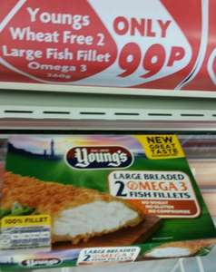 Young's 2 large breaded omega 3 fish fillet at Heron foods 99p in Oldham