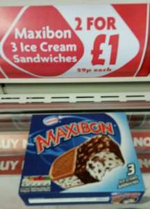 Maxibon 3 Ice cream sandwich 59p or 2 boxes for £1 at Heron foods in Oldham