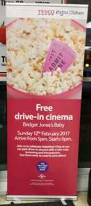 FREE Drive in Cinema @ Tesco showing Bridget Jone's Baby with FREE popcorn!