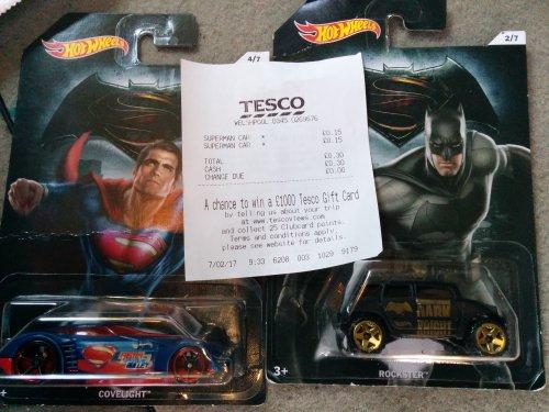 Batman v Superman hot wheels 15p instore @ Tesco