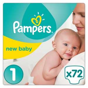 Pampers New Baby Size 1 Jumbo Pack 72 Nappies- TWO FOR £12 at Tesco