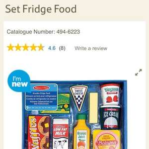 Melissa and Doug Wooden Toy Set Fridge Food - £6.74 @ Tesco Direct