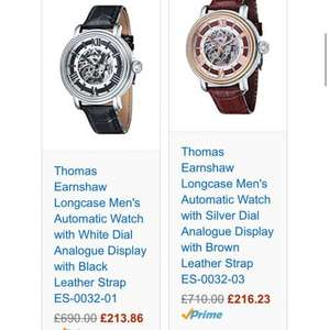 Up to 65% off Thomas Earnshaw watches  @ Amazon