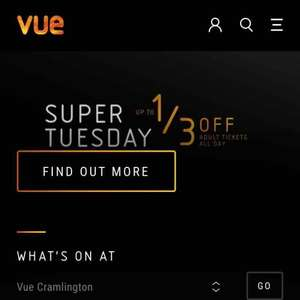 Vue Cinema Valentines Day Super Tuesday 1/3 off £4.99