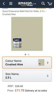 Dulux endurance paint £11.75 at Amazon - prime exclusive