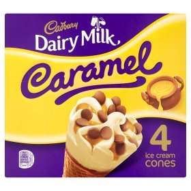 Cadbury 4 x 100g Dairy Milk Caramel Ice Cream Cones was £1.95 now 2 packs for £3.00 @ Asda