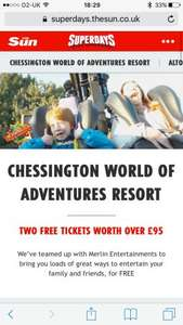 2 free tickets to chessington with 10 tokens starts Saturday via the sun