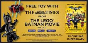 Free Lego Batman Movie polybag with this Saturday's The Times (£1.50)