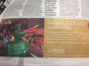 2x legoland tickets for £10 from The Times and Sunday Times