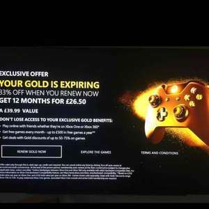 Xbox live gold 12 months - Microsoft -  account specific £26.50