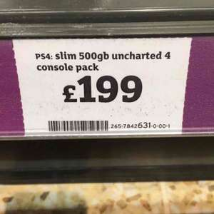 PS4 slim 500gb with uncharted 4 £199 in store at sainsburys - Ashford