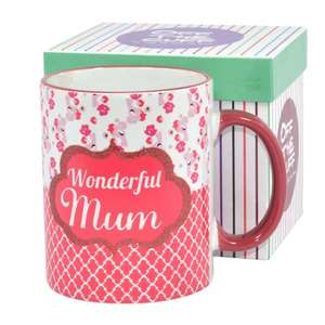 """""""wonderful mum"""" mug in a gift box £3.60 delivered with code @ Internet Gift Store"""