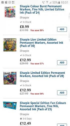 better than half price sharpies @ whsmith - Free c&c