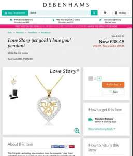 9ct gold I love you necklace valentines gift - £38.49 / £41.98 delivered @ Debenhams