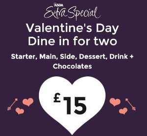 Valentines Day - Share More Love - Extra Special Dine in For Two Meal Deal  £15 – ASDA -  Includes Starter, Main, Side, Dessert (Three are Hand Finished), Drink and chocolates – Good Selection