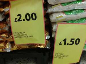 5Kg Kohinoor Extra long Basmati rice £2. Also, 5Kg East End Pure Basmati Rice only £1.50, in-store at Tesco Bidston (Wirral)