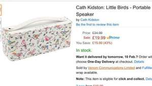 cath kidston Bluetooth speaker - £19.99 (£24.74 Non-Prime) via Amazon