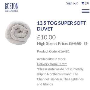 25% discount for Valentine's Day at the Boston Duvet and Pillow Company with the code LOVE25 - 13.5 Tog Super Soft Duvet £7.50