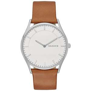 Skagen SKW6219 Men's Holst Leather Strap Watch, Brown/White - John Lewis - £77.50 delivered - Half Price