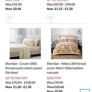 Debenhams 90% sale on bedding and curtains from 46p