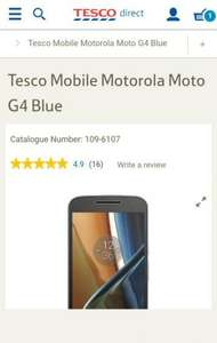 Buy Tesco Mobile Motorola Moto G4 Blue from our Pay as you go Phones range - Tesco - £134 (Free C&C)