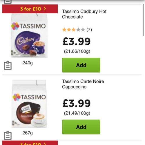 Various Tassimo Pods 3 for £10 @ ASDA instore & Online