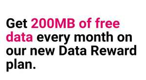 Three Data reward Sim, 200Mb free data every month, no topup required