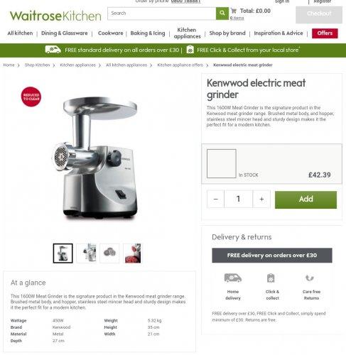 Kenwood electric meat grinder Waitrose Kitchen - £42.39