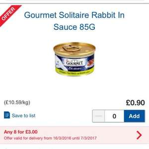 Gourmet Solitaire Luxury Cat Food 90p each or 8 for £3 @ Tesco