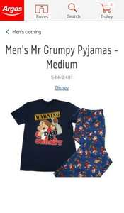 Men's/Dad's Mr Grumpy Pyjamas - s/m/l at Argos £6.99