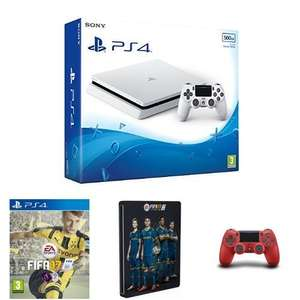 PS4 Slim 500GB White + FIFA 17 + Steelbook + Red DS4 - Amazon - £330.33