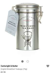 Cartwright and butler tea bags £1.74 instore @ Harrods