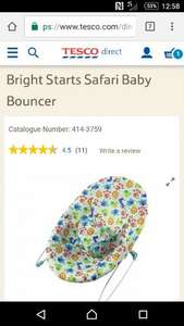 Bright Stars Silly Safari Bouncer reduced to £9 from £20 in Tesco, Helston