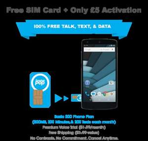 Freedom POP UK free 200 minutes 200 MB data unlimited texts (£5 activation fee)