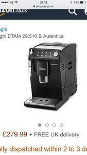 Delonghi authentica etam 29.510b bean to cup coffee machine £279.99 - RRP £500 @ Amazon