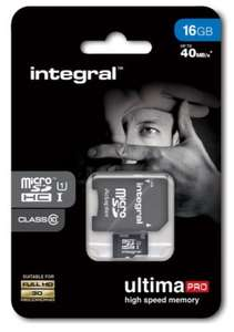 INTEGRAL UltimaPro Class 10 microSD Memory Card - 16 GB. FREE NEXT DAY DELIVERY £5.89 @ Currys