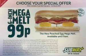 Subway - 6-inch Poached Egg Mega Melt (Bacon/turkey rashers, sausage, cheese and poached egg) 99p - Starts 15th Feb