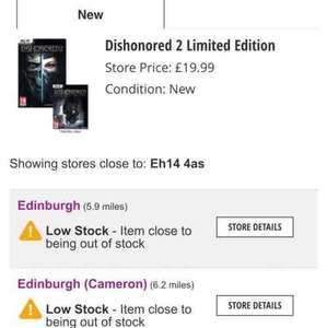 Dishonored 2 limited edition (PC) £19.99 instore @ GAME