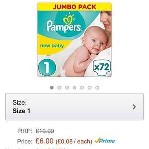 pampers newborn size 1 72 in a pack £6 @ Amazon (Prime Exclusive)