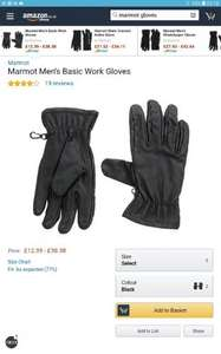 marmot black leather work gloves (medium) @ Amazon