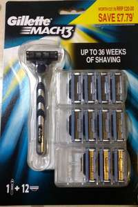Gillette Mach 3 Razor and 12 blades £10 instore @ Asda